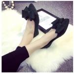 รองเท้าส้นเตี้ยผู้หญิงสีดำ หนังนิ่ม หัวแหลม ประดับโบว์ใหญ่ สวมใส่สบาย แฟชั่นเกาหลี