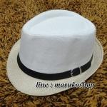 หมวกปานามาปีกสั้น หมวกสาน หมวกปานามา สีทูโทนคาดเข็มขัดดำ พร้อมส่งค่ะ
