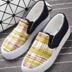รองเท้าผ้าใบแฟชั่นผู้หญิง สีเหลืองลายสก็อต ส้นสีดำ พื้นหนา แบบสวม น่ารัก ดูดี ไม่ซ้ำใคร ใส่ลำลอง