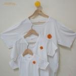 เสื้อครอบครัว ไซส์ใหญ่ไปถึงไซส์เล็ก ..พร้อมส่ง...สีขาว เซ็ทพระอาทิตย์