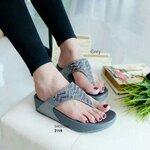 รองเท้าแตะ เพื่อสุขภาพ สไตล์ฟิทฟลอป หน้าเพชรลายคลื่น (สีเทา )
