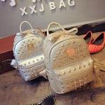 กระเป๋าเป้สีทอง กระเป๋าเป้สะพายหลัง แต่งหมุดทั้งใบ งานหนัง PU อย่างดี แฟชั่นเกาหลี