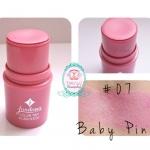 Jordana Color Tint Blush Stick #07 Baby Pink สีชมพูอมม่วง บลัสออนเนื้อครีมชนิดแท่งแบบหมุน แบรน์ดังจากอเมริกา เนื้อครีมเกลี่ยง่ายไม่เป็นก้อน เล็กกะทัดรัดพกพาสะดวก สีสันเด่นชัดดูเป็นธรรมชาติ ติดทนนาน ไม่เป็นคราบ เหมาะสำหรับทุกสภาพผิว
