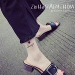 รองเท้าแตะผู้หญิงสีดำ ส้นเตี้ย สายคาดแบบหัวเข็มขัด ทันสัย ดูดี แฟชั่นเกาหลี