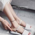 รองเท้าแตะผู้หญิงสีขาว ส้นแบน แบบสวม อาซาคุจิ หนังนิ่ม ดูดี แฟชั่นเกาหลี