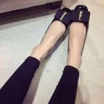 รองเท้าหุ้มส้นหญิงสีดำ หนังแก้ว ทรงบัลเลต์ พื้นแบนเรียบ แฟชั่นเกาหลี