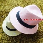 หมวกปานามาปีกกว้าง หมวกสาน หมวกปานามาสีชมพูคาดดำ พร้อมส่งค่ะ ปีกกว้าง 5 ซม รอบศรีษะ 57-58 ซม.