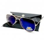 แว่นกันแดด โพลาไรซ์ ทรง Aviator กรอบสีทอง เลนส์ ปรอทสีฟ้าคราม พร้อมซองหนัง PU