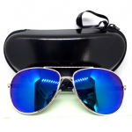 แว่นกันแดด แฟชั่น กรอบสีทอง เลนส์ ปรอทสีน้ำเงิน สวยหรู รุ่น POLI