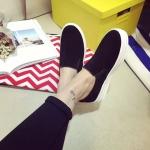 รองเท้าหุ้มสันผู้หญิงสีดำ แบบสวม พื้นยาง พื้นหนา แฟชั่นเกาหลี