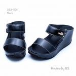 รองเท้าส้นเตารีด แบบสวม สายคาดสองตอน (สีดำ )