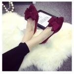 รองเท้าส้นแบนผู้หญิงสีแดง หุ้มส้น หัวแหลม ประดับโบว์ใหญ่ ส้นสูง1ซม. แฟชั่นเกาหลี