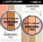 City Color Sunkissed Trio ปัดแก้ม บรอนเซอร์ และไฮไลท์ 3 เฉดสีในตลับเดียว ปัดแก้ม บรอนเซอร์ตีกรอบหน้า และไฮไลท์เพื่อผิวหน้าที่กระจ่างสมบูรณ์แบบ เนื้อแป้งทำจากสารสกัดแร่มิเนอรัล ช่วยดูดซับความมัน เม็ดสีแน่นเนื้อละเอียดนุ่มลื่นเกลี่ยง่ายติดทนตลอดทั้งวัน