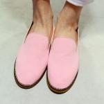 รองเท้าหุ้มส้นหญิงสีชมพู ลำลอง หนังเคลือบ แบบสวม พื้นแบน แฟชั่นเกาหลี