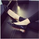 รองเท้าหุ้มส้นผู้หญิงสีดำ หัวแหลม ประดับโบว์เล็ก ส้นหนา ส้นสูง3ซม. แฟชั่นเกาหลี