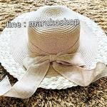 หมวกปีกกว้าง หมวกเที่ยวทะเล หมวกปีกว้างโทนน้ำตาล คาดโบว์ใหญ่เก๋ๆ