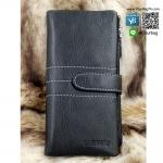กระเป๋าสตางค์หนังแท้ ผู้ชาย ทรงยาว รุ่น GUBINTU Line Button Zip Black สีดำ