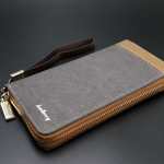 WL02-Gray กระเป๋าสตางค์ผู้ชายใบยาว ผ้าแคนวาส สีเทา