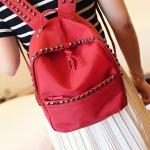 กระเป๋าเป้แฟชั่นสีแดงRivet ประดับหมุด ผ้าไนลอน ทรงOxford เรียบง่าย ดูดี แฟชั่นเกาหลี สำเนา สำเนา