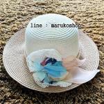 หมวกปีกกว้าง หมวกไปทะเล หมวกสาน สีครีม+น้ำตาล แต่งโบว์รอบเก๋ๆ