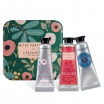 L'Occitane Soft & Tender Hand Cream - Riffle Paper Co. Box ชุดบำรุงมือ 3 กลิ่นมาพร้อมกล่องเหล็กสีเขียวลายดอกไม้ เหมาะสำหรับใช้เองหรือมอบเป็นของขวัญให้ช่วงปีใหม่