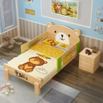 TP21021 (WDK21) 3ฟุต เตียงนอนไม้เด็ก MoMo Bear เตียงเดี่ยว ลายพีหมี น่ารัก