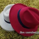 หมวกปานามา สักหลาดสีเลือดหมู ผ้าสักหลาดเนื้อดี เย็บขอบ ปีกกว้าง 7ซม รอบศรีษะ 62 ซม.