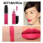 MAC Retro Matte Liquid Lipcolour # To Matte With Love ลิปลิควิดแมทมาในแท่งใส มองเห็นสีลิปชัดเจน ทาแล้วแห้งเร็ว ปากดูแมตต์เป็นกำมะหยี่ เฉดสีมีทั้งสีนู้ดและสีเข้มให้เลือก ติดทนนาน กินข้าวกินนํ้าไม่หลุด พู่กันหัวฟองน้ำสำหรับทาลิปสติก ทาง่ายเกลี่ยลื่น