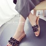 รองเท้าแตะผู้หญิงสีดำ ส้นแบน แต่งดอกไม้ แบบสวม หนังพียูคุณภาพ ดูดี สวมใส่สบาย แฟชั่นเกาหลี