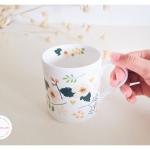 Bone China Mug - Season Flowers แก้วโบน ไชน่า ลายดอกไม้