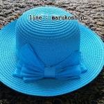 หมวกปีกกว้าง หมวกไปทะเล หมวกสาน สีฟ้า แต่งโบว์รอบเก๋ๆ