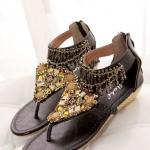 รองเท้าแตะรัดส้น สไตล์โบฮีเมี่ยน (สีดำ)