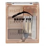 Milani Brow Fix Brow Kit #01 Light โทนน้ำตาลสว่าง สำหรับสาวที่มีสีผมน้ำตาลสว่าง น้ำตาลทอง ชุดแต่งคิ้วขนาดเล็กๆ พกพาได้ ประกอบด้วย ที่เขียนคิ้วฝุ่น 2 สี, ไฮไลท์ 1 สี, แหนบ, แปรงแต่งคิ้ว 2 ชิ้น แบบแปรงกับหัวฟองน้ำ และกระจกในตัว เหมาะสำหรับการเดินทาง