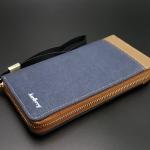 WL02-Blue กระเป๋าสตางค์ผู้ชายใบยาว ผ้าแคนวาส สีน้ำเงิน