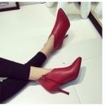 รองเท้าบูทส้นสูงสีแดง หัวแหลม แบบส้นเข็ม มีซิป ส้นสูง8ซม. แฟชั่นเกาหลี