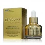 Bergamo Premium Gold Wrinkle Care Ampoule 30ml เซรั่มชนิดพิเศษที่มีส่วนผสมของทองคำบริสุทธิ์เข้มข้นถึง 99.9% ซ่อมแซมผิวที่หยาบกร้านให้ตึงกระชับ ช่วยลดเลือนริ่วรอย ร่องลึกให้ตื้นขึ้นด้วยเนื้อเซรั่มเข้มข้น ช่วยคืนความอ่อนเยาว์ให้กลับสู่ผิวคุณ