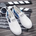 รองเท้าผ้าใบแฟชั่นเกาหลีสีขาว ส้นแต่งลายกราฟิตี้ หัวกลม แบบสวม พื้นหนา ทรงทันสมัย