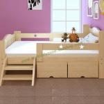 TP21001(WDK1S) เตียงนอนไม้ เตียงเดี่ยวสำหรับเด็ก สีเบจ มีลิ้นชักเก็บของใต้เตียง