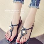รองเท้าแตะผู้หญิงสีเขียว ส้นแบน แบบหนีบ ประดับมุกสุดหวาน สไตล์โรมัน ดูดี แฟชั่นเกาหลี