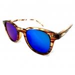 แว่นกันแดดแนวเรโทร สีน้ำตาลลายไม้ เลนส์ปรอทสีน้ำเงิน