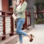 รองเท้าทำงานส้นสูงสีน้ำตาล หุ้มส้น หัวมน ประดับโบว์ หนังPU พื้นหนา3cm ส้มนสูง11cm แฟชั่นเกาหลี