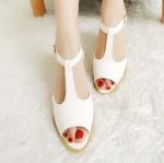 รองเท้ารัดส้นผู้หญิงสีขาว ส้นหนา เปิดหัว เข็ทขัดรัดข้อเท้า แฟชั่นยุโรป