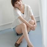 รองเท้าแฟชั่นผู้หญิงส้นเตี้ยสีเขียว หุ้มส้น หนังPU พื้นไมโครไฟเบอร์ หัวกลม มีเข็มขัด แฟชั่นเกาหลี