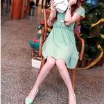 รองเท้าส้นเตี้ยผู้หญิงสีเขียว หุ้มส้น หัวแหลม ประดับโบว์ ส้นสูง4cm ใส่แล้วเท้าเล็ก น่ารัก แฟชั่นเหาหลี