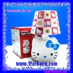 โคมไฟเจ้าแมว คิตตี้ ลวดลายโคมเป็นลายช่องแบบ โบสีฟ้า ( Hello Kitty Night lamp ) โคมไฟแบบตั้งโต๊ะ ที่สามารถใช้พลังงานได้ 2 ระบบ