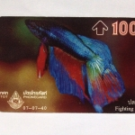 (P3USD+SHIP3USD) บัตรโทรศัพท์ ภาพ ปลากัด ปี 2540