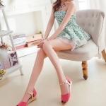 รองเท้าแตะผู้หญิงสีแดง รัดส้น หนังไมโครไฟเบอร์ ส้นเตี้ย มีเข็มขัดรัดข้อเท้า หวาน สไตล์แฟชั่นเกาหลี
