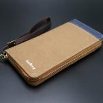 WL02-Brown กระเป๋าสตางค์ผู้ชายใบยาว ผ้าแคนวาส สีน้ำตาล