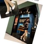 รองเท้าส้นสูงสีขาว รัดส้น หัวกลม ประดับสร้อยสีทอง หัวเข็มขัด ส้นสูง8cm แฟชั่นเกาหลี