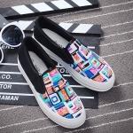 รองเท้าผ้าใบแฟชั่นเกาหลี สีฟ้ากราฟิตี้ ทรงฮาราจูกุ ส้นสีดำ พื้นหนา น่ารัก ดูดี ไม่ซ้ำใคร ใส่ลำลอง